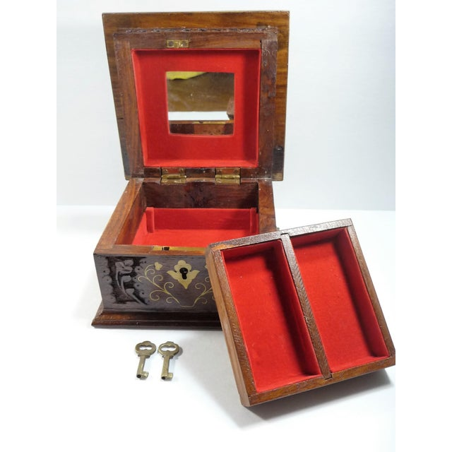 Vintage Square Carved Wood Box - Image 9 of 11