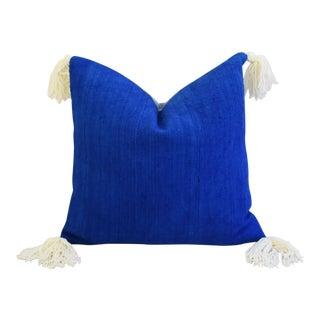 African Mud Cloth Royal Blue & Cream Tasseled Pillow