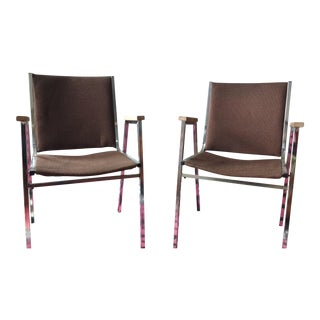 Vintage Chrome & Fabric Side Chairs - A Pair