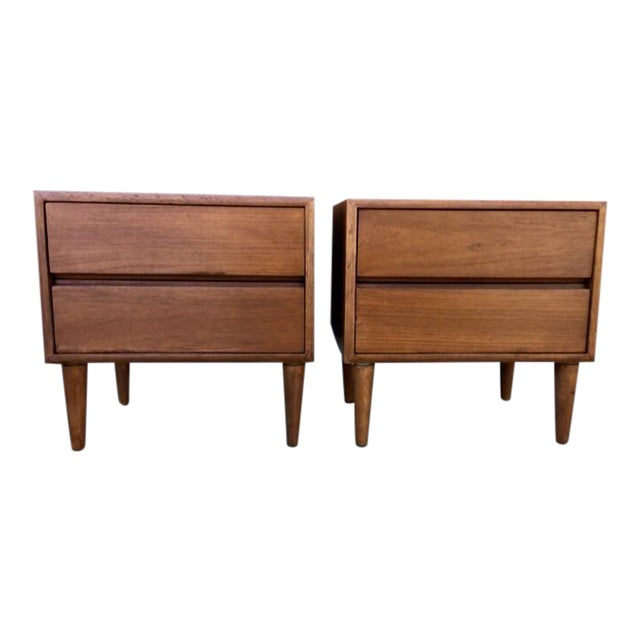 Image of Minimal Mid-Century Nighstands - A Pair