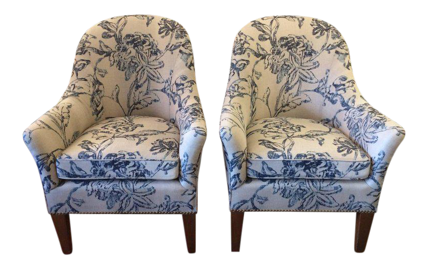 blue u0026 white linen club chairs a pair