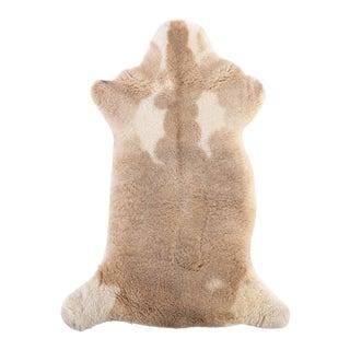 "Beige & White Handmade Sheepskin Rug - 3'5""x1'10"