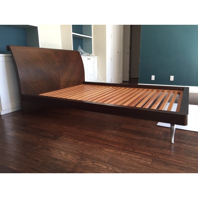 African Walnut With Matte Chrome Leg Queen Bed - Image 6 of 11