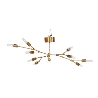 Ten-Light Reticulated Brass Ceiling Lamp