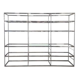 Chrome Etagere with Glass Shelves