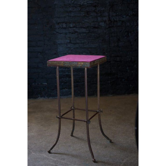 Antique 20th C. Altar Plum Velvet Table or Plant Stand - Image 3 of 9