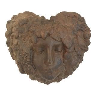 Heart Shaped Face Cement Wall Sculpture