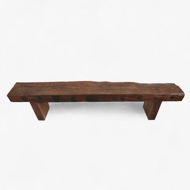 Old Teak Slab Bench - Image 3 of 5