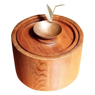 Danish Teak Ice Bucket with Copper Scoop