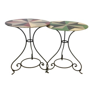 Hand Painted Iron Bistro Tables - a Pair