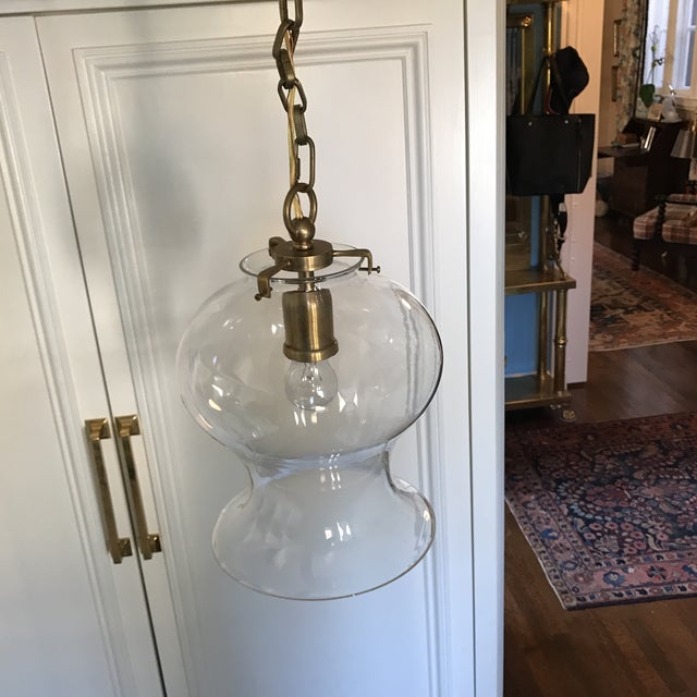 Image of Hand-Rubbed Antique Brass Pendant Ceiling Light