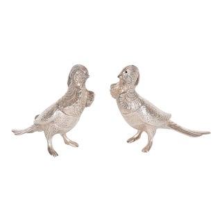 Pair of Art Deco Salt/Pepper Shakers in Silver Plate Representing Exotic Birds