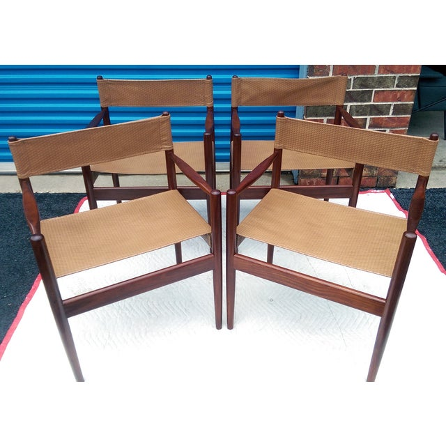 Rosewood Sling Chairs - Set of 4 - Image 2 of 8