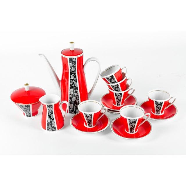 Art Deco Porcelain German Espresso Set - 17 Pieces - Image 9 of 11