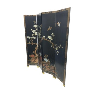 Carved Magnolia Japanese Screen