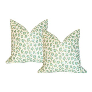 "Conga Line Moss Aqua Pillow Covers - a Pair 20"" Sq"