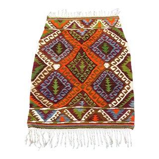 Vintage Turkish Handwoven Wool Kilim Rug- 3' x 3'8''