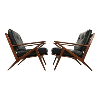 Mid-Century Black Vinyl Z Lounge Chairs - A Pair