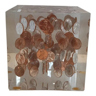Mid-Century Floating Pennies Acrylic Cube