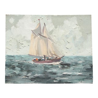 Vintage Heavily Textured Sailboat Painting