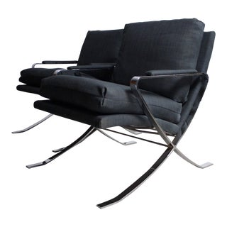 Bernhardt Chrome Lounge Chairs - A Pair
