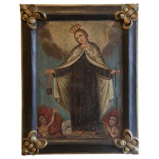 18th Century Cuzco School Oil on Canvas of the Virgin