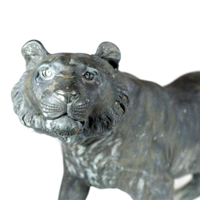 Antique Patinated Bronze Tiger Japan - Image 2 of 7