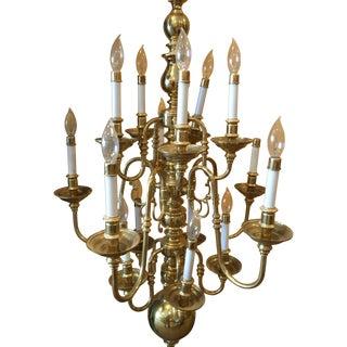 Solid Brass Fifteen-Lamp Chandelier