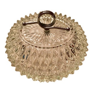 Mid-Century Covered Glass & Chrome Candy Dish