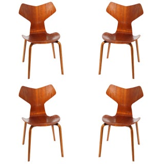 Grand Prix Teak Dining Chairs by Arne Jacobsen, Set of Four