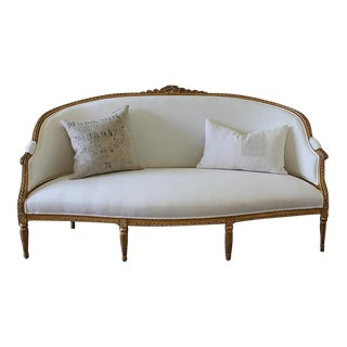 20th Century Carved Ribbon Giltwood Louis XVI Style French Sofa