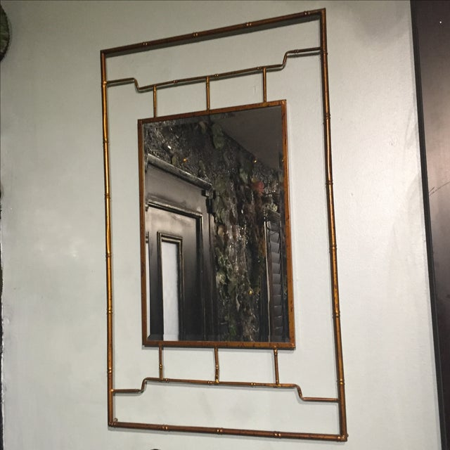 Bronze Metal Bamboo Framed Chinoiserie Mirror - Image 2 of 4