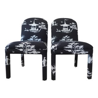 Chinoiserie Style Parson Chairs - Pair