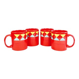 Waechtersbach Geometric Red Mug Set - Set of 4