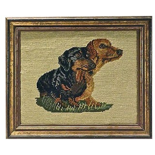 Vintage Framed Dachshunds Needlepoint