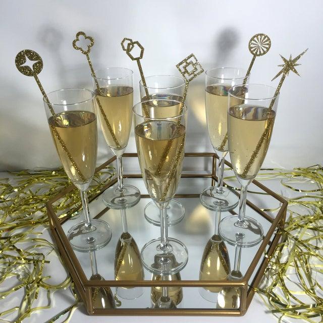 Geometric Gold Glitter Drink Stirrers - Set of 6 - Image 3 of 4
