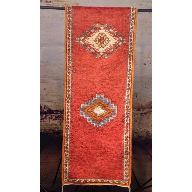 Coral and Turquoise Hallway Runner Pile Rug - Handmade Moroccan Taznacht - 2′3″ × 9′7″ - Image 3 of 7