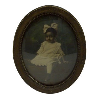 "Vintage Bubble Glass Framed Black & White Photograph ""Young Black Girl"", 1920"