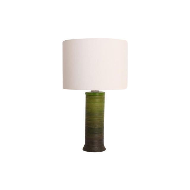 Image of Mid-Century Modern Green Ombre Plastic Table Lamp