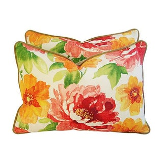 Colorful Floral Lumbar Pillows - Pair
