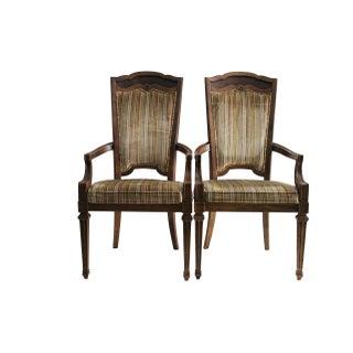 Walnut And Velvet Armchairs - Pair