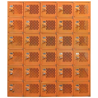 Mid-Century Orange Industrial Locker Set