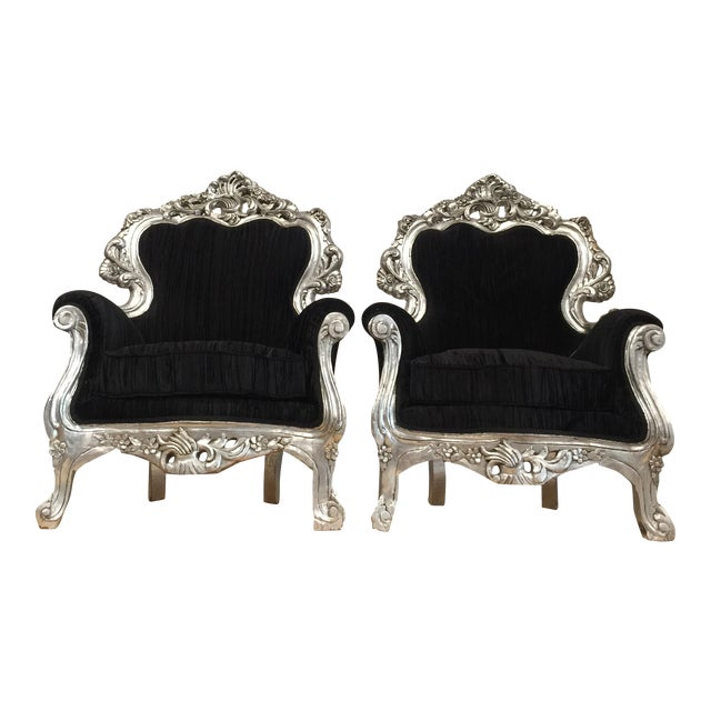 Silver & Velvet Black Throne Chairs - A Pair - Image 1 of 6