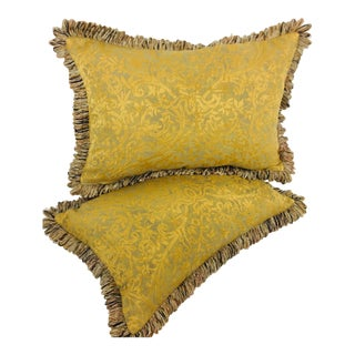 Fortuny Gold Metallic & Chenille Pillows- a Pair