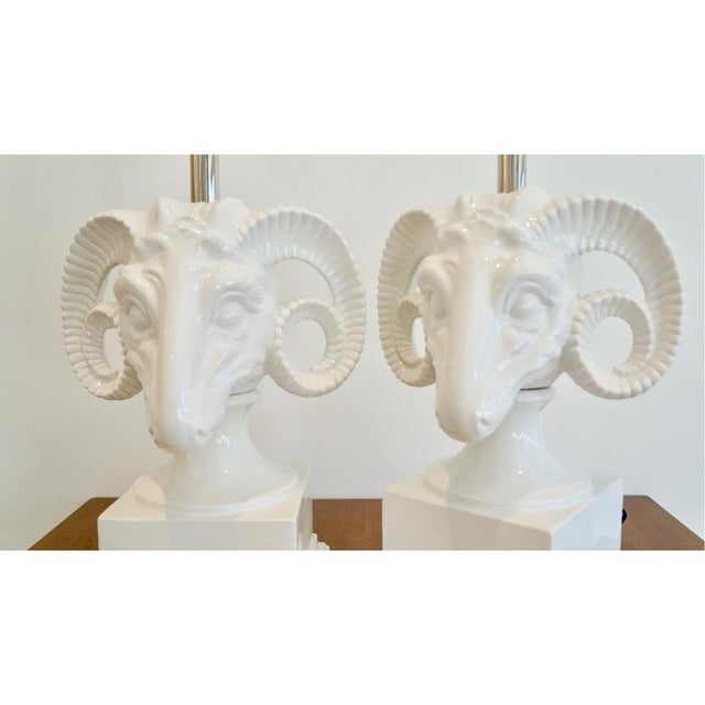 Image of Pair Ceramic Rams Head Table Lamps