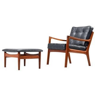 Ole Wanscher Leather Arm Chair and Ottoman