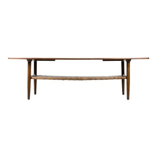 Danish Modern Kurt Ostervig Oak Coffee Table with Removable Cane Shelf