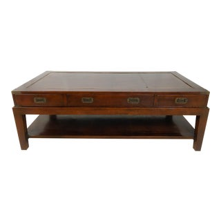 English Campaign Style Leather Coffee Table