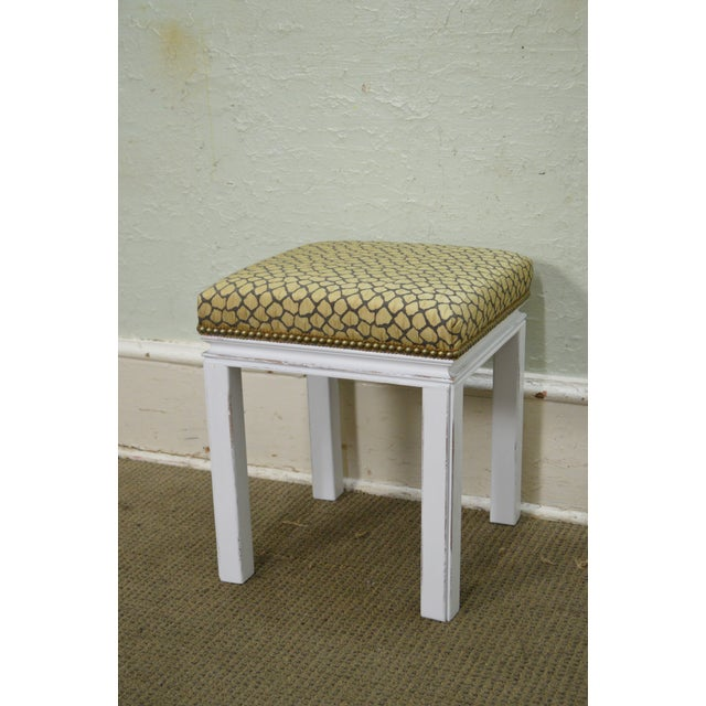 Mid Century Pair of Custom Painted Square Stools Benches - Image 8 of 11