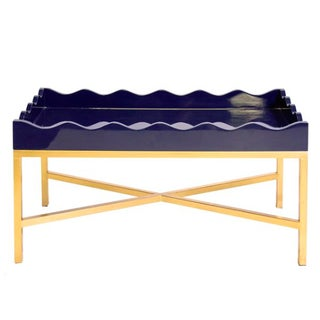 Navy Lacquer Cocktail Tray Table